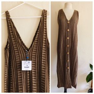 Brand New Zara Knit V-Neck Dress L